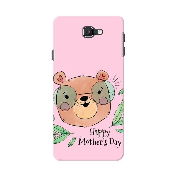 Cute Mom Bear With Glasses And Leaves