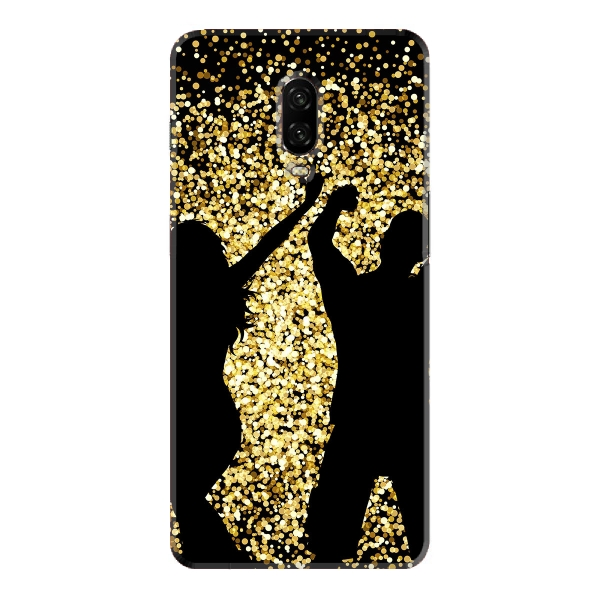 Silhouettes of people dancing on gold glitter