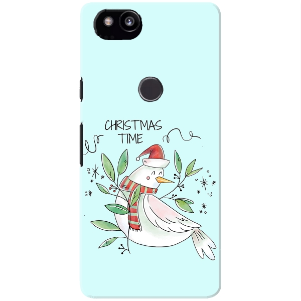 Cute White Bird Smiling With Xmas Leaves And Ornaments
