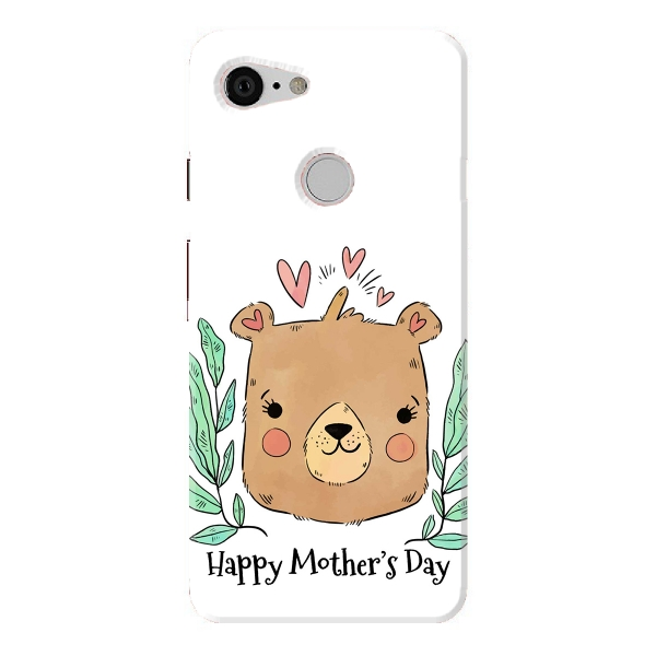 Cute Mom Bear With Hearts And Leaves