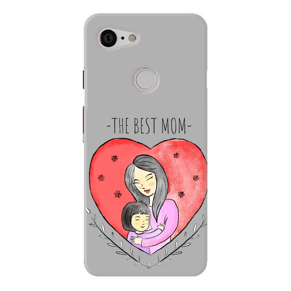 Cute Mother With Little Girl Inside Red Heart