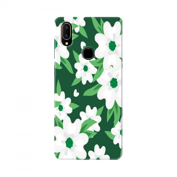 White Floral Print On Green