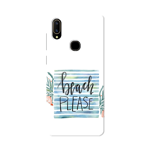 Beach Please Watercolor Quote With Leaves and Flower